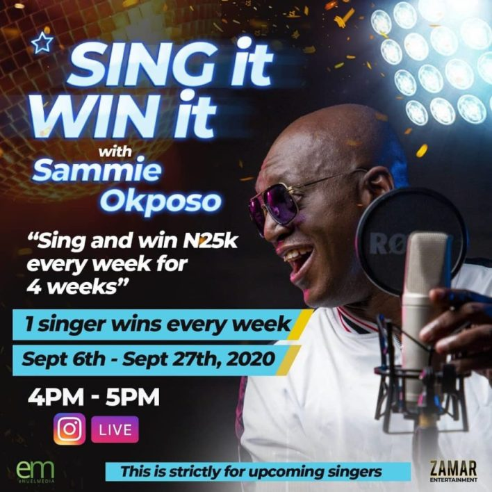 """Sammie Okposo """"Sing it Win it"""" Online Contest To Continue this Sept."""