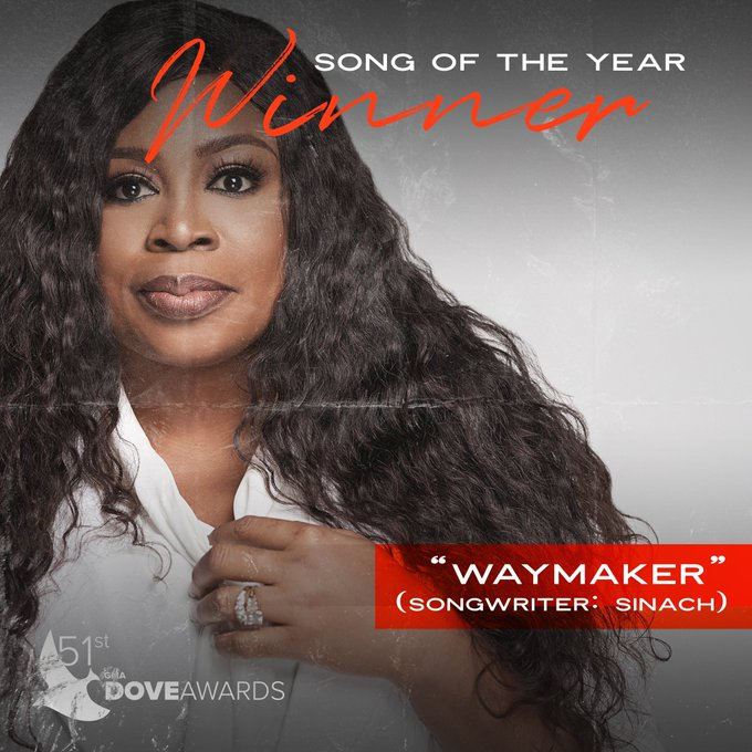 """Sinach's """"Waymaker"""" Wins Song Of The Year At 2020 Dove Awards – See Winners List"""