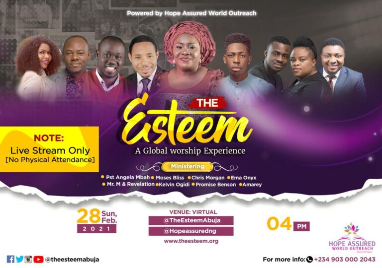 The Esteem Live Worship Concert The Virtual Edition set for February 28, 2021 | @TheEsteemAbuja